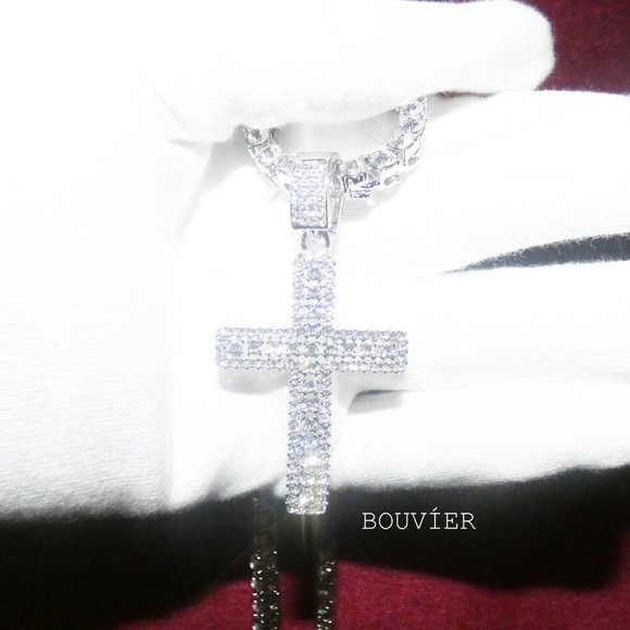 Bouvier Jewelry Other - White Gold Diamond Large Cross Tennis Chain